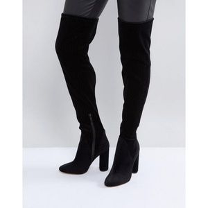 Over the knee black faux suede boots